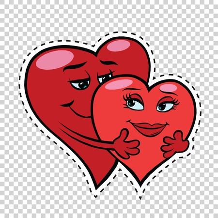 愛のカップルは、赤いハート バレンタイン pop アート レトロ漫画のイラストを抱擁します。バレンタインデー赤いハート。男性と女性の文字