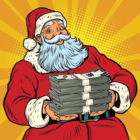 Santa Claus with money, pop art retro comic book illustration. Christmas discounts and sales 矢量图像