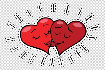 Kus harten valentijnskaarten, popart retro comic book illustratie. Valentijnsdag rode harten. Love couple mannelijk en vrouwelijk karakter