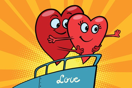 Love couple king of the world scene red hearts Valentines, pop art retro comic book illustration. male and female character