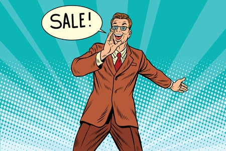 sale businessman promoter, pop art retro comic book illustration. Discounts in shops. Man advertises shopping Illustration