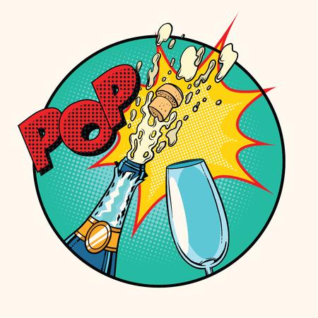 Pop geluid van opening champagne, kunst retro stripboek illustratie