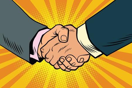 Business handshake, partnership and teamwork, pop art retro comic book illustration