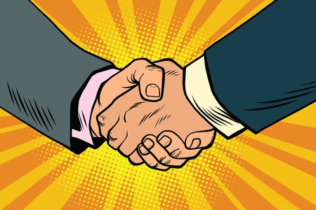 Uścisk dłoni biznesowych, partnerstwa i pracy zespołowej, pop sztuki Retro komiks ilustracji