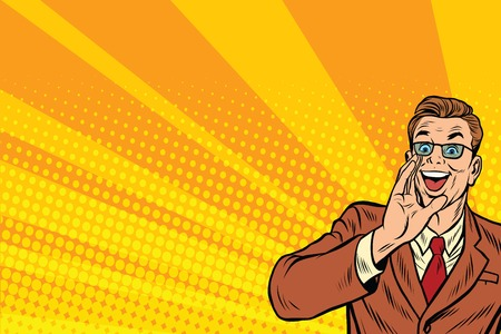 promoter: Pop art promo businessman in glasses, retro comic book illustration Illustration