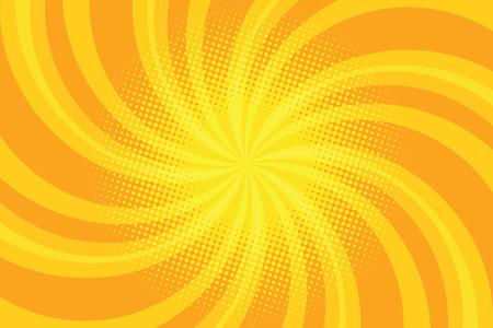 Yellow spiral pop art background, retro comic book illustration Ilustracja