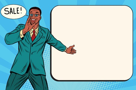 promoter: sale businessman promoter, pop art retro comic book illustration. Discounts in shops. Man advertises shopping. African American people