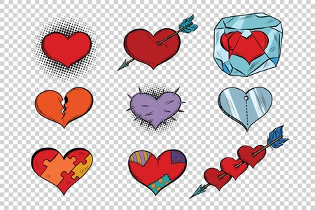 set of Valentine hearts on a transparent background. Pop art retro illustration. Different textures characters