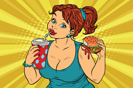 Young woman drinking Cola and eating Burger. Pop art retro illustration. Fast food restaurant. A delicious lunch