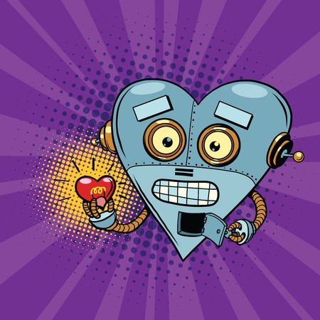 st valentin: Retro robot and the light bulb heart Valentine. Pop art illustration. Valentin day, holiday, wedding love and romance. artificial intelligence