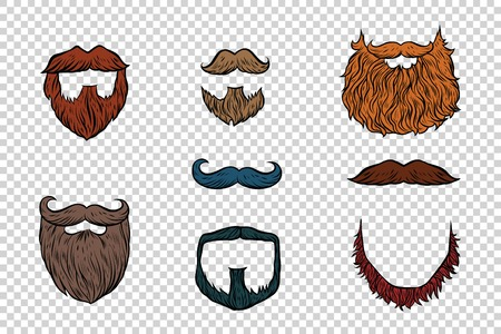 burly: stylish beard and moustache set collection. Pop art retro illustration. Hairdresser and Barber