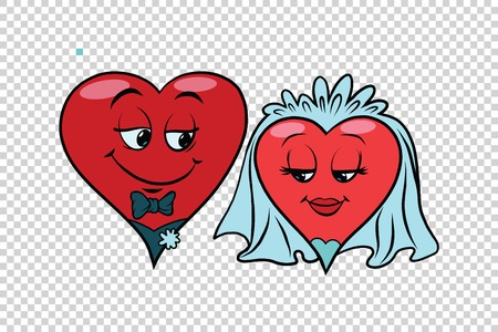 Wedding groom and bride, Valentine heart. Pop art retro illustration. Valentin day, holiday, wedding love and romance. Transparent background