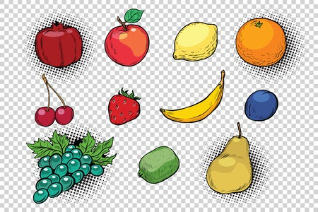 set of fruits and berries. Pop art retro illustration. Simulated transparent background. Fresh herbs, food Illustration