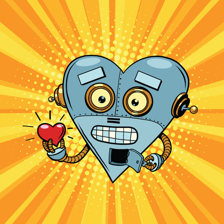 st valentin: Retro robot heart Valentine love and romance. Pop art illustration. Valentin day, holiday, wedding love and romance. artificial intelligence