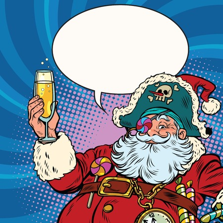 champagne pop: Santa Claus pirate champagne toast. Pop art retro vector illustration. New year and Christmas