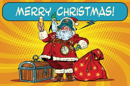 champagne toast: Santa Claus pirate wishes merry Christmas. Pop art retro vector illustration. Christmas character with a penguin on his shoulder. champagne toast Illustration