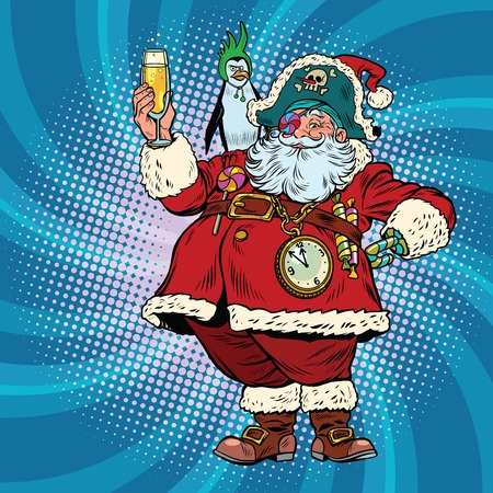champagne pop: Santa Claus pirate wishes merry Christmas. Pop art retro vector illustration. Christmas character with a penguin on his shoulder. champagne toast Illustration