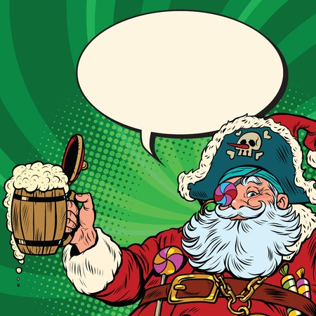 Santa Claus beer in the Irish pub. Pop art retro vector illustration. New year and Christmas