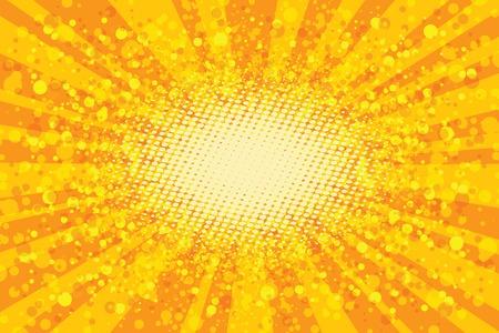 Yellow abstract pop art background, retro rays vector