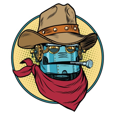 Robot cowboy West wild world. Pop art retro vector illustration. Android and artificial intelligence. Retro science fiction