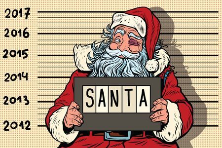 Criminal Santa Claus arrested, 2017 New year. Pop art retro vector illustration. Humorous Christmas cartoon Illustration