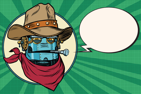 Robot cowboy West wild world. Pop art retro vector illustration. Android and artificial intelligence. Retro science fiction. Green background, comic bubble
