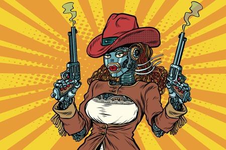 Robot woman gangster steampunk wild West, pop art retro vector illustration. Western style. Science fiction