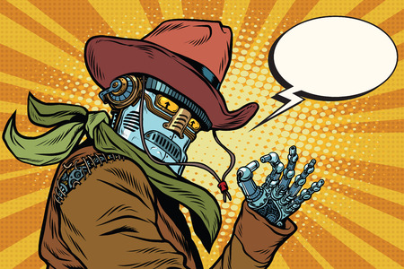 Steampunk robot cowboy okay gesture, pop art retro vector illustration. Western style. Science fiction