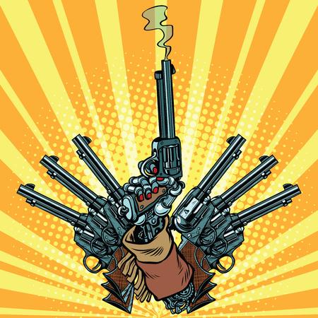 Hand with revolvers shot pop art weapons. Steampunk Western style. Pop art retro revolver vector illustration.