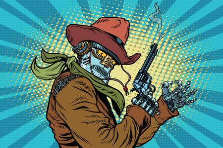 Robot cowboy wild West, OK gesture, pop art retro vector illustration. Steampunk Western style. Science fiction