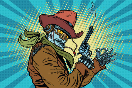Robot cowboy wild West, OK gesture, pop art retro vector illustration. Steampunk Western style. Science fiction