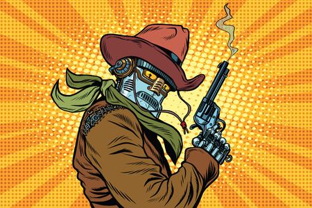 Steampunk robot cowboy with Smoking after firing a revolver, pop art retro vector illustration. Western style. Science fiction