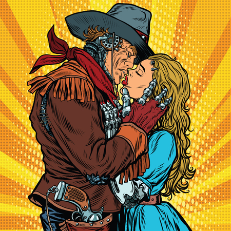 Steampunk robots. Cowboy kisses the girl, pop art retro vector illustration. Western style. Science fiction. Love couple 向量圖像