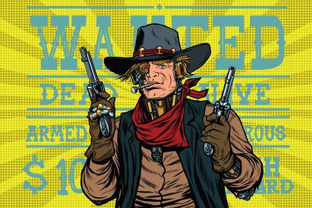 Steampunk robot bandit wild West, wanted