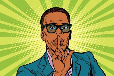 shh: Businessman gesture Shh silence