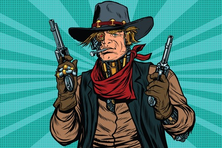 Steampunk robot cowboy bandit with gun Vectores