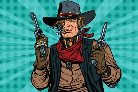 Steampunk robot cowboy bandit with gun Stock Illustratie