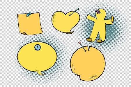 set of yellow stickers in different shapes Stock Photo