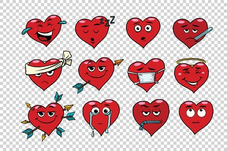 colds: Red heart Valentine set of characters