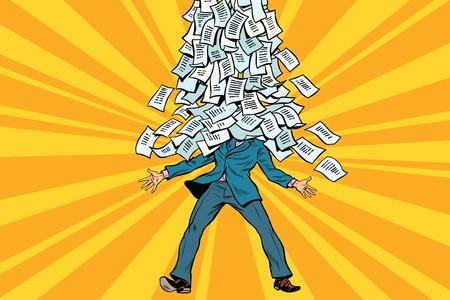 Geschäftsmann und Bürokratie, ein Berg von Papierkram. Comic Illustration Pop-Art Retro-Stil