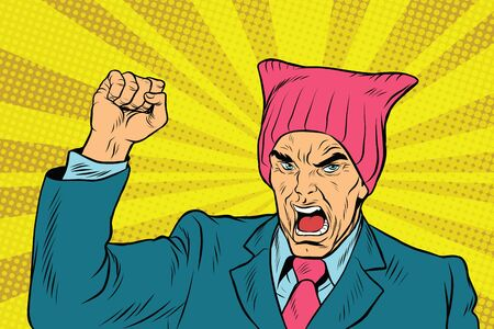 feminist: Angry retro politician feminist. pop art comic vector illustration. Man in pussyhat