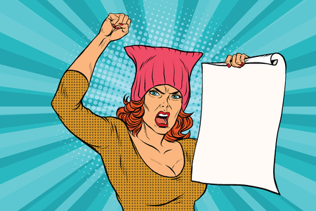 woman feminist protest at the rally. Retro pop art comic vector illustration. pussyhat Illustration