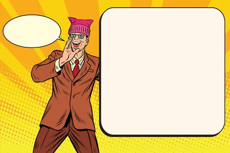 campaigning: Politician man in a pussy hat campaigning. Retro pop art comic vector illustration
