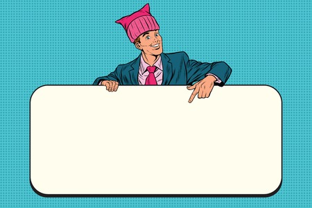 Retro businessman in a pussy hat indicates information Billboard Stock Photo