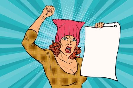 vrouw feministische protest tegen de rally