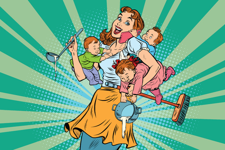 Cheerful mother with three children working and talking on the phone. Comic pop art illustration vector drawing Stock fotó - 70971380
