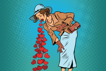 abdomen women: Beautiful retro woman vomiting Valentines heart. Comic pop art illustration vector drawing