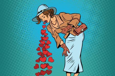 Schöne Retro Frau Erbrechen Valentines Herz. Comic-Pop-Art-Illustration Vektor-Zeichen
