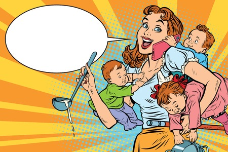 Cheerful mother with three children working and talking on the phone. Comic pop art illustration vector drawing Imagens - 70971416