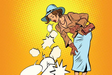 Beautiful retro woman vomiting review comic bubble. pop art illustration vector drawing Illustration